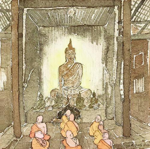 Cao Yingbin - Viaggio in Occidente - Chiang Mai, Interno di un tempio, 2019, acquerello, 15x15 cm | Edizioni di Maieutica.jpg