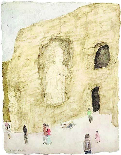 Cao Yingbin - Viaggio in Occidente - Grotte di Yungang, 2018, stampa digitale, 36x43 cm | Edizioni di Maieutica
