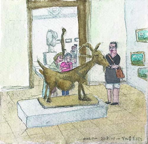 Cao Yingbin - Viaggio in Occidente - Parigi, Museo Picasso, 2018, acquerello 15 x 15 cm | Edizioni di Maieutica