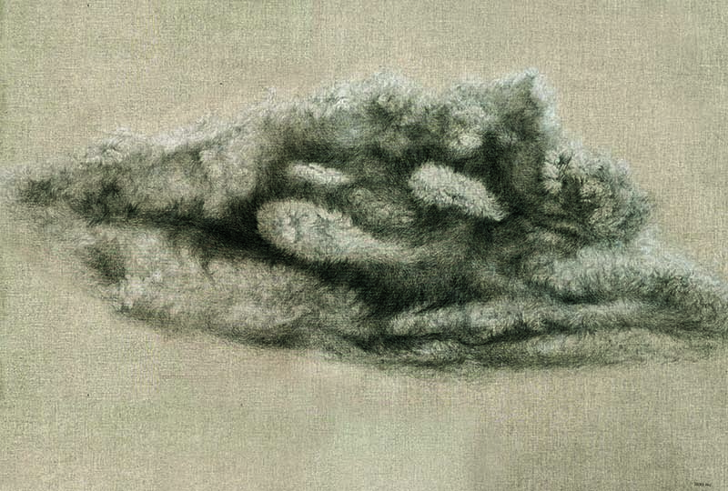 Zhang Jinhui. Nuvola, 2018, olio su tela, 144x205 cm | Edizioni di Maieutica